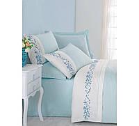 Изысканное сатиновое постельное белье ЕВРО размера с вышивкой Cotton Box TERRY MINT CB07
