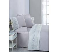 Изысканное сатиновое постельное белье ЕВРО размера с вышивкой Cotton Box TILDA GRI CB07