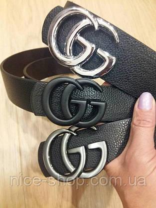 Ремень Gucci черный с черной матовой пряжкой, фото 2
