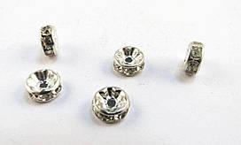 Разделители для бусин, Рондель, Металл, Стразы, 8 мм х 3 мм, 1,2 мм