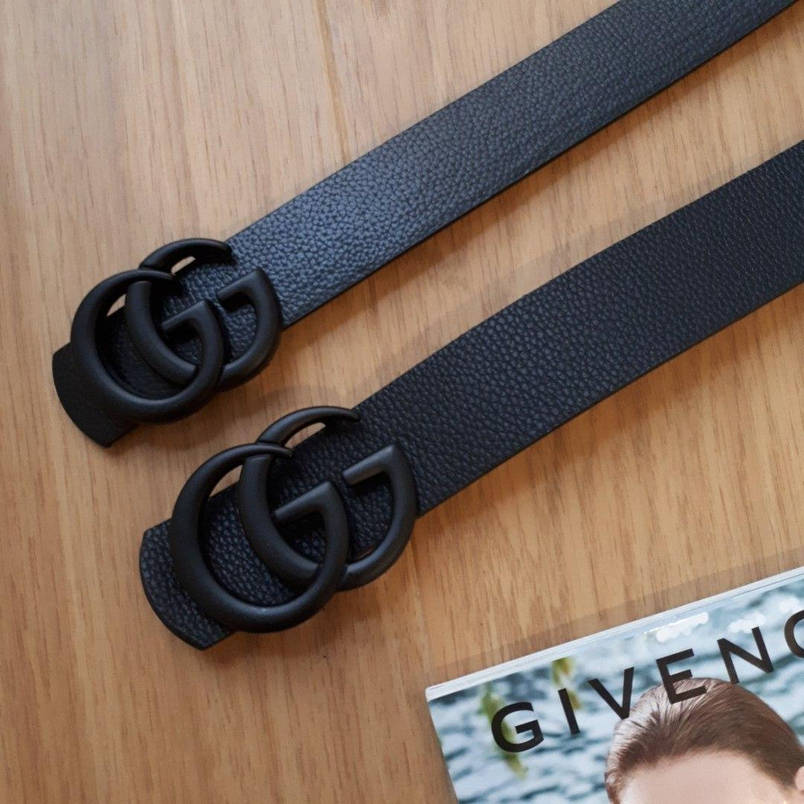 Ремень Gucci черный с черной матовой пряжкой, средний 3,2 см, фото 2