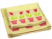 Махровое жаккардовое полотенце желтое 70х140 см