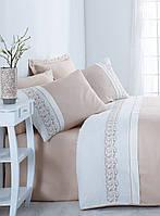 Изысканное сатиновое постельное белье ЕВРО размера с вышивкой Cotton Box ODILA BEJ CB07