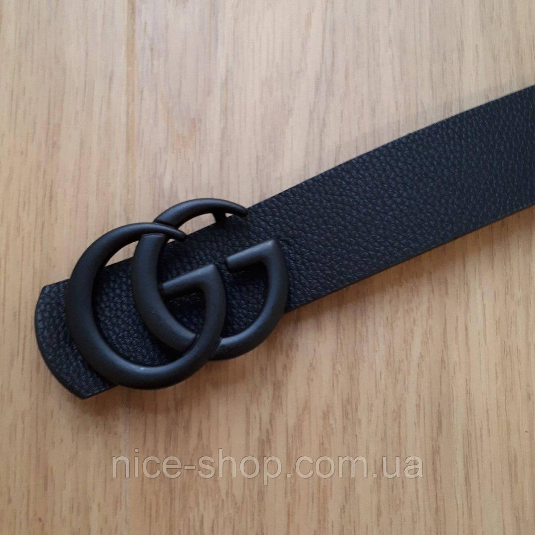 Ремень Gucci черный с черной матовой пряжкой, средний 3,2 см