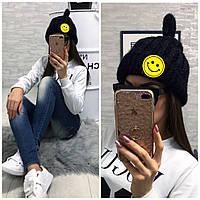 Женская зимняя шапка со смайлом