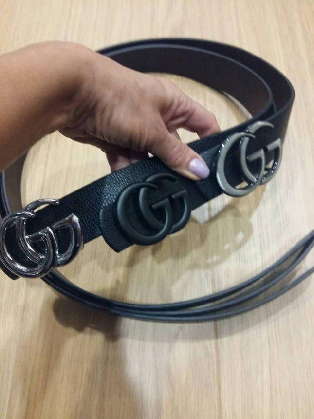 Ремень Gucci черный с серебряной матовой пряжкой, фото 2