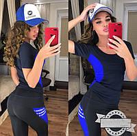 Женский костюм для фитнеса с футболкой и лосинами