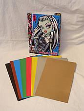 """Набор цветного картона """"Monster High"""" (8листов/8цветов, есть золото и серебро) , фото 3"""
