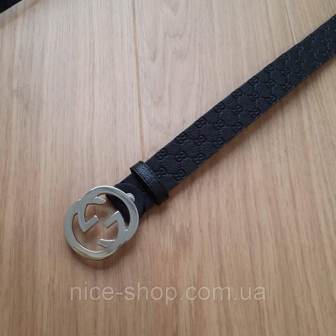 Ремень Gucci черный с серебряной глянцевой пряжкой
