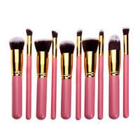 Рожеві кисті для макіяжу 10 шт