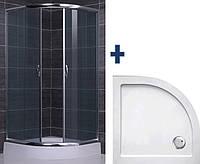 BALATON душ. кабина 90*90*185+SMC поддон 90*90*3,5 полукруглый, R550mm+Сифон c косым выпуском+лицевая панель+