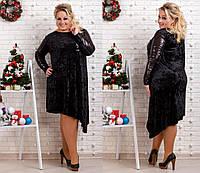 Женское нарядное бархатное платье декорировано пайеткой  черное 48,50,52,54,56,58,60