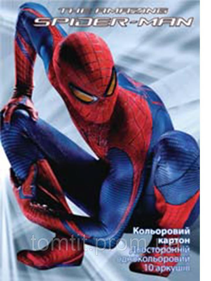 """Набор цветного картона """"Spider-man (Человек-паук)"""" (10листов/10цветов)"""