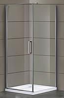 RUDAS душевая кабина квадратная 90*90*205 см, поддон (PUF) 5 см (с сифоном), распашная, стекло прозрачное, лев
