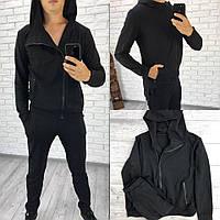 Трикотажный спортивный костюм УНИСЕКС, кофта-косуха, черный