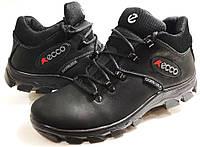 Мужские Зимние Кожаные ботинки Ecco Gore-Tex black чёрные Польша