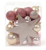 Набор Новогодних шаров 29 шт с верхушкой на елку Звезда (20см), микс цветов: шампань, розовый, медь