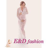 Полупрозрачное белое длинное платье для фотосессии беременных