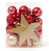Набор елочных шаров (29шт) с верхушкой на елку Звезда (20см), микс цветов: красный, бордо, яркое золото
