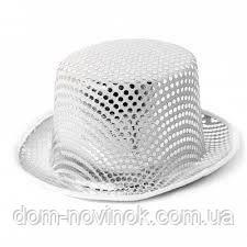 Шляпа Цилиндр с пайетками (белый)