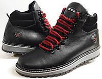 Мужские Зимние Кожаные ботинки Ecco Expensive black чёрные Польша