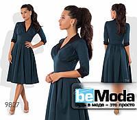 Привлекательное высококачественное женское платье оригинального фасона с клешной юбкой цвета морской волны