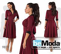 Привлекательное высококачественное женское платье оригинального фасона с клешной юбкой бордовое