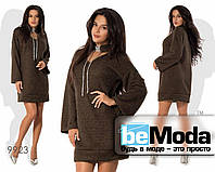 Очень модное и изысканное женское платье с интересным воротничком свободного фасона коричневое