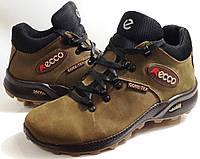 Мужские Зимние Кожаные ботинки Ecco Gore-Tex олива Польша