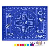 Силіконовий килимок для випічки і розкатування тіста 60х42 см., 1001370, 0