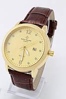 Мужские наручные часы Patek Philippe (золотой циферблат, коричневый ремешок)