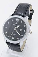 Мужские наручные часы Patek Philippe (серебристый корпус, черный ремешок)