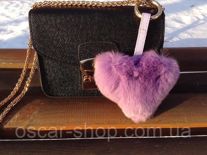Меховой брелок на сумку Сердце сиреневое натуральный мех Luxury