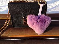 Меховой брелок на сумку Сердце сиреневое натуральный мех Luxury, фото 1