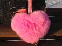 Меховой брелок на сумку Сердце розовое натуральный мех Luxury