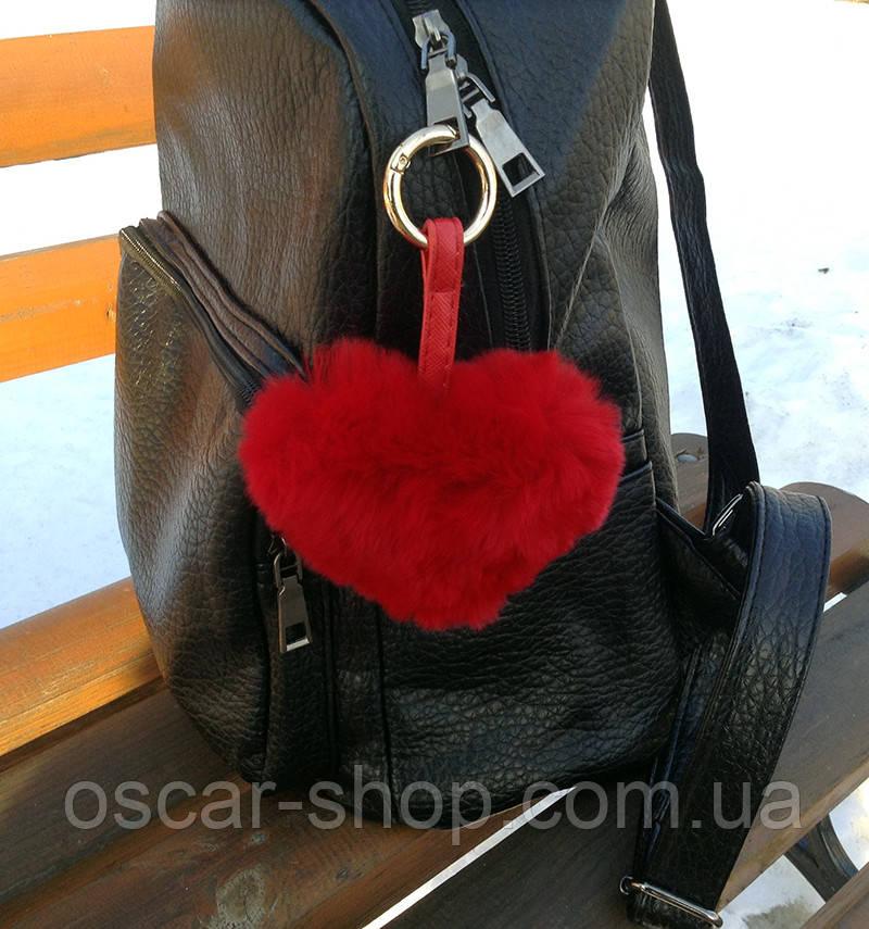 Хутряний брелок на сумку Серце червоне натуральне хутро Luxury