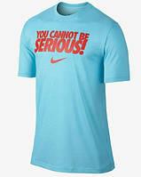 Брендовая футболка Nike, голубая футболка найк, с красным логотипом, летняя, КП556