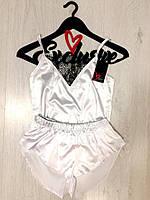Атласный белый комплект майка с шортами, фото 1