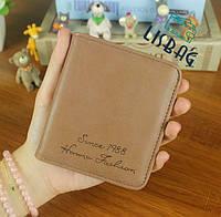 Небольшой женский кошелек на кнопке коричневый, фото 1