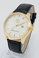 Мужские наручные часы Mercedes-Benz (белый циферблат, черный ремешок) (Копия)