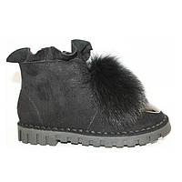 Ботинки зимние брендовые натуральный мех черные с железным носком