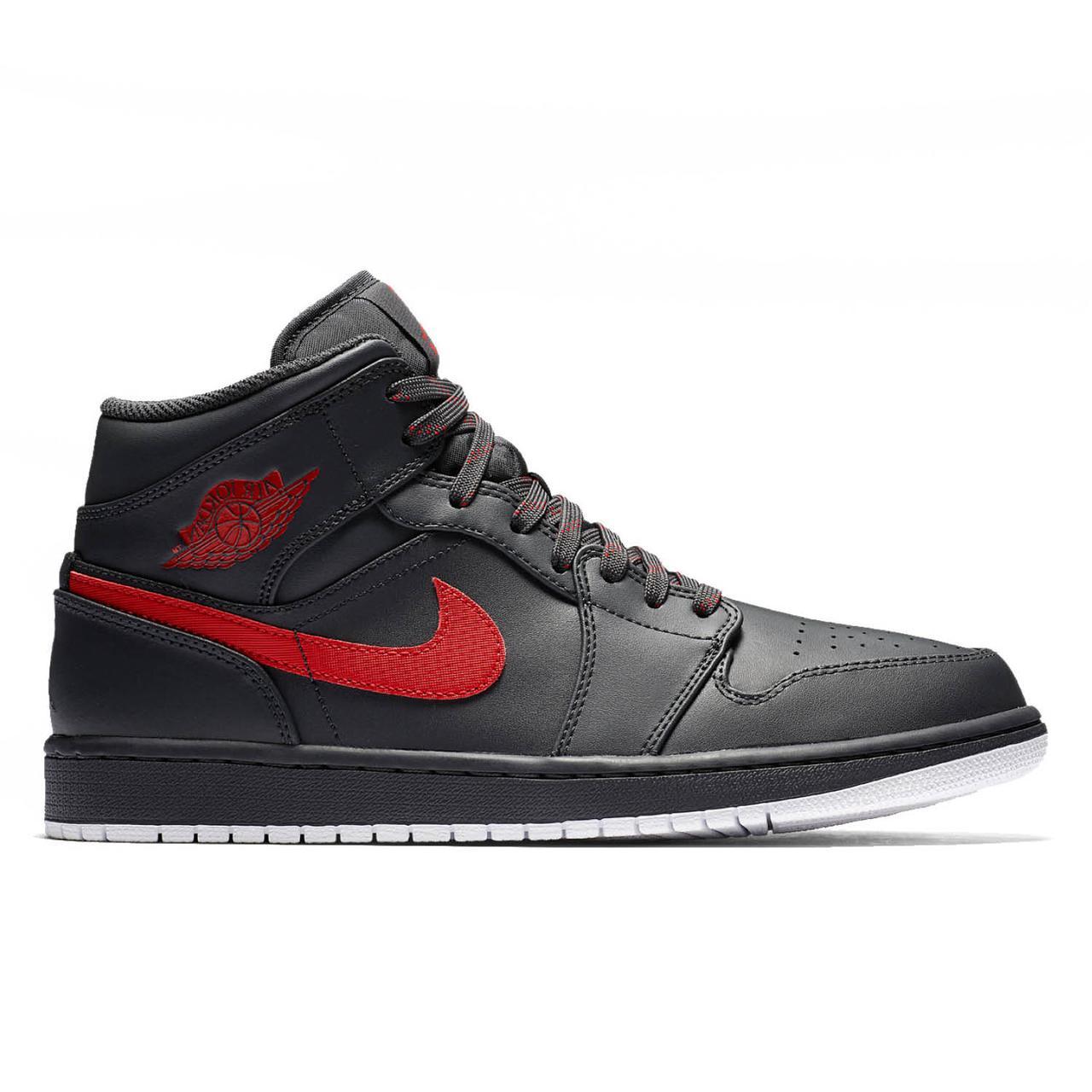 62147b82 Оригинальные Кроссовки Nike Air Jordan 1 Mid Black / White / Red — в ...