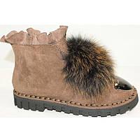 Ботинки зимние брендовые натуральный мех коричневые с железным носком