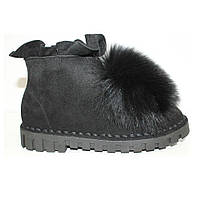 Ботинки зимние брендовые натуральный мех черные