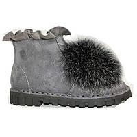 Ботинки зимние брендовые натуральный мех серые