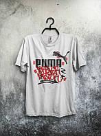 Брендовая футболка Puma, футболка пума, белая, лого на груди, хлопок, КП2146
