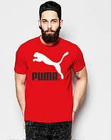 Брендовая футболка Puma, футболка пума, красная, хлопок, лого на груди, КП2156