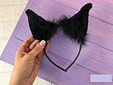 Обруч карнавальный ушки Кошки с мехом (только по 12 штук), фото 2