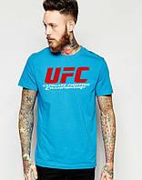 Брендовая футболкаUFC, футболка юКПс, синяя, мужская, хлопок, КП2381
