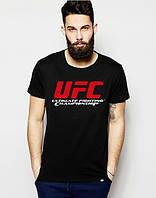 Брендовая футболкаUFC, футболка юКПс, черная, мужская, хлопок, КП2382